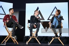 Musicians Mike Shinoda, Chester Bennington and Jared Leto attend the 'Carnivores' tour announcement with Linkin Park, 30 Seconds to Mars and AFI at Milk Studios on March 4, 2014 in Hollywood, California.