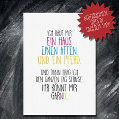 Weiteres - Spruch Druck Poster Bild Geschenk HAUS AFFE PFERD  - ein Designerstück von ChrisSign bei DaWanda