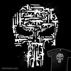 Shirt with the punisher skull made entirely out of guns in black or vigilante weaponry comic comics film fuacka marvelcomics movie punisher skull weapons publicscrutiny Gallery