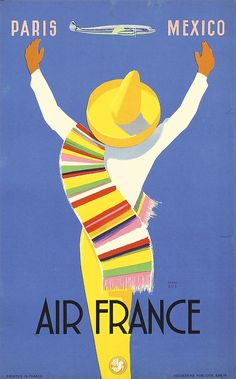 Maurus, Edmond.   Air France - Paris - Mexico.   Lithograph 1954.   Size: 19.6 x 12.2 in. (50 x 31 cm).   Printer: Goossens Publicité.   Condition Details: (A-/B+) on linen, small edge tears.