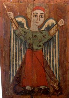 I would like to introduce to my readers this Coptic icon from the century, Archangel Michael, from the Athens Byzantine Museum. In its style it is different from that of modern iconography. St Michael, Christian Art, Religious Art, Byzantine, Naive, 17th Century, Google Images, Folk Art, Museum