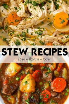 There's nothing like a good bowl of stew to treat your family. Stews can cheer tired and busy days, and can be whipped up in no time at all, and perhaps slow-cooked for hours to enjoy later on. Here are 29 best stew recipes that you can enjoy with yo Beef And Potato Stew, Hearty Beef Stew, Soup Recipes, Dinner Recipes, Cooking Recipes, Best Stew Recipe, Beef Bourguignon, Slow Cooker Beef, Easy Healthy Recipes