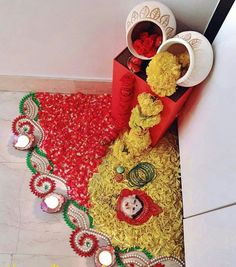 44 Diwali DIY Decoration Ideas (You Must Try) The season of lights and joy is here. Yes, the festival of Diwali is getting closer and it is the right time for you guys to make some amazing plans … Diwali Decoration Lights, Diya Decoration Ideas, Diwali Decorations At Home, Stage Decorations, Flower Decorations, Wedding Decorations, Rangoli Designs Flower, Rangoli Designs Diwali, Flower Rangoli