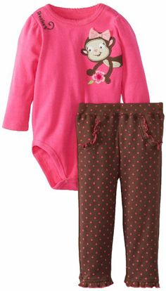 Amazon.com: Watch Me Grow! by Sesame Street Baby-Girls Infant Monkey Flower Creeper And Pant: Clothing