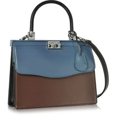Rodo Handbags Black Blue and Chocolate Nappa Leather Top Handle Paris... ($1,070) ❤ liked on Polyvore featuring bags, handbags, chocolate brown handbag, flap handbags, rodo, blue bag and chocolate brown purse