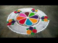 easy rangoli design using comb Rangoli Ideas, Rangoli Designs Diwali, Easy Rangoli, Kolam Designs, Small Rangoli, Flower Rangoli, Colour Rangoli, Diwali Craft, Beautiful Rangoli Designs