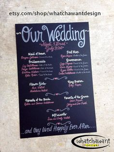 Pin now so you can find later! You don't want to lose this link! Custom HandPainted 20x30 WEDDING CHALKBOARD by WhatchawantDesign