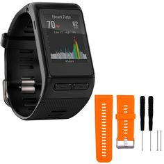 Garmin vivoactive HR GPS Smartwatch - Regular Fit - Black (010-01605-03) with General Brand Silicone Band Strap + Tools for Garmin Vivoactive HR Sport Watch (Orange). Run, bike, swim, golf, ski and more with vívoactive HR, the GPS smartwatch with Elevate wrist heart rate technology. It records and displays activity data and features smart notifications.