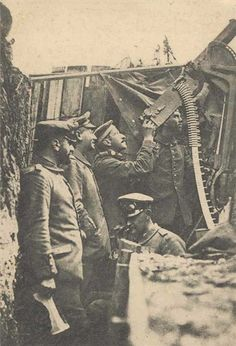 WW1: German troops have deployed a heavy machine gun as an anti-aircraft gun in a corner of their trench.