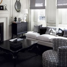 Black And White Traditional Living Rooms
