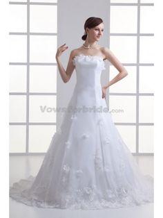 Satin Strapless A-line Sweep Train Applique Wedding Dress
