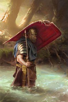 045 - roman legionary (FINAL) Reference: https://ru.pinterest.com/pin/499969996112273600 TWITTER: https://twitter.com/NickProkoArt  #digitalart #art #sketch #drawing #draw #illustrations #illustration #painting #digitalpainting #artwork #photoshop #sketchbook #sketching #character #rome #river #soldier #legionary #gameart #drawn