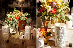 literary centerpieces - they look easy enough to diy.