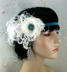 Flapper Style Headband,1920s Hair Accessories, Bridal Fascinator, Feather Fascinator, Fascinator, Bridal Headpiece, Ship Ready. $78.00, via Etsy.