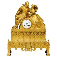 Bronze Doré Figural Clock - French Napoleon III ca. 1850 | From a unique collection of antique and modern clocks at http://www.1stdibs.com/furniture/more-furniture-collectibles/clocks/