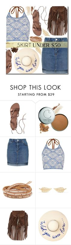 """""""Skirts Under $50"""" by justkejti ❤ liked on Polyvore featuring Canvas by Lands' End, Topshop, River Island, Chan Luu, Jennifer Meyer Jewelry, Yves Saint Laurent, Eugenia Kim, under50, polyvorecontest and skirtunder50"""