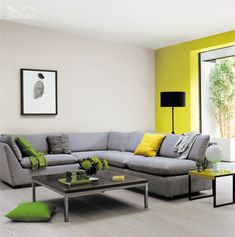 Combine statement shades of yellow with delicate, neutrals for a look that is really striking and fresh.  Featuring Lemon Punch and Polished Pebble by Dulux.