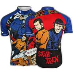 """She can't take much more of this, Captain!"" Featuring the main cast from the original series, our new, officially licensed Star Trek ""Galaxy Pop"" cycling jersey uses the retro art from the late 60's"