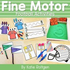 This Football Fine Motor Activities resource contains low prep activities that PreK, kindergarten, and homeschool students will love! These low-prep activities are perfect for prekindergarten centers or kinder stations and cover fine motor skills such as paper tearing, cutting, line tracing, letter & number writing, tweezing, bead stringing, hole punching, and more. Preschoolers and kinders love these hands on activities that allow them to develop their fine motor skills while having fun. #