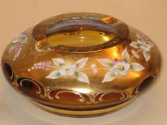 """Vintage Bohemian Brown/Gold Glass Ashtray with Flowers 5"""""""