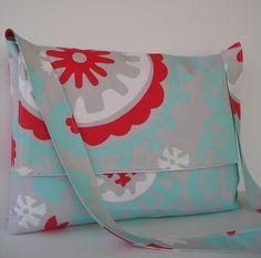 Messenger Bag / Crossbody Bag / Laptop / Diaper Bag / iPad Bag in Aqua, Grey and Red. $35.00, via Etsy.