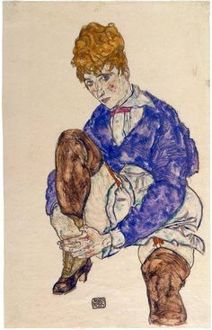 Egon Schiele (1890-1918), portrait of the artist's wife seated, holding her right leg, 1917 Leg Art, Oil Painting Reproductions, Painting Edges, Stretched Canvas Prints, Art Google, Figurative Art, Find Art, Framed Artwork, Giclee Print