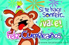 Tarjeta de cumpleaños para sonreír-Mono Manolo haciendo muecas. © ZEA www.tarjetaszea.com