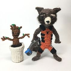 Rocket the raccoon from Guardians of the Galaxy, arguably one of the best comic movies made so far! Little baby Groot is removable from his little flowerpot!