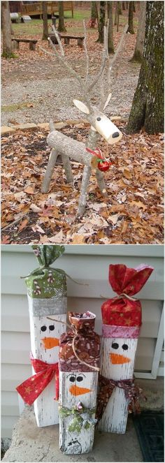 Weihnachtsdekoration These wooden DIY outdoor winter and Christmas decorations are adorable! Noel Christmas, Winter Christmas, Christmas Wreaths, Christmas Ornaments, Christmas Porch, Country Christmas, Father Christmas, Outdoor Christmas Reindeer, Burlap Christmas