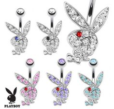 surgical steel official playboy belly ring.  #playboy #belly #bellyring #navel #navelring #bodyjewelry #stomach #sexy