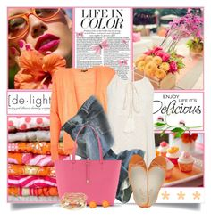 """""""Delicious Orange & Pink"""" by brendariley-1 ❤ liked on Polyvore featuring WALL, Label Lab, Polo Ralph Lauren, Vince Camuto, Suziemas and Kendra Scott"""