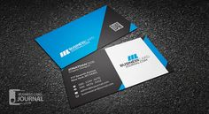 Modern Blue Professional Business Card Template with QR Code => More at designresources.io