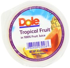 Dole Tropical Fruit in 100% Juice, 4-Ounce Cups (Pack of 36) Dole http ...