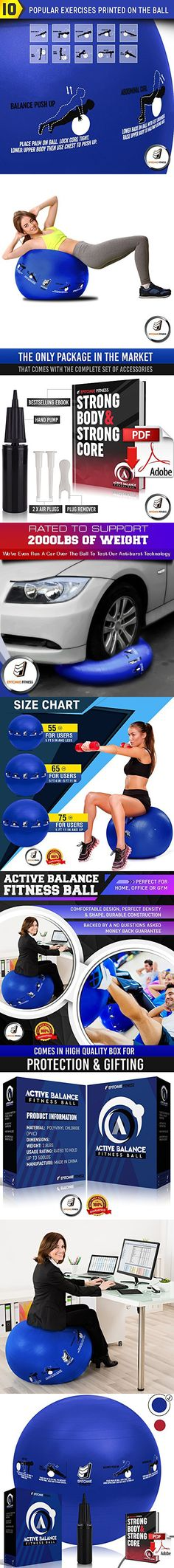 Active Balance 55cm Fitness Ball - Exercise & Stability Balls With Imprinted Exercises & Training eBook - Best Core Trainer For Pilates, Exercising & To Tone Abs (Navy Blue)
