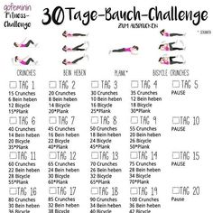 Die nächste Challenge steht an: Die 30 Tage Bauch-Challenge ?‍♀️ W… The next Challenge is on: The 30 Day Abdominal Challenge ? More on this gofeminin. Fitness Workouts, Fitness Herausforderungen, 6 Pack Abs Workout, Fitness Studio, Sport Fitness, 30 Day Plank Challenge, Workout Challenge, Crunches Challenge, Fitness Factory