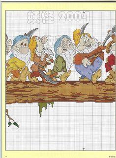 Seven Dwarfs on Log 3  Solo Patrones Punto Cruz (pág. 18) | Aprender manualidades es facilisimo.com