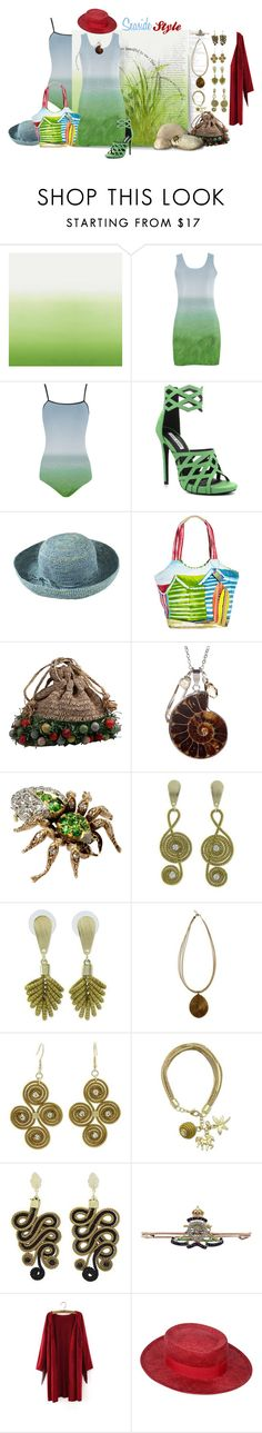 """""""Seaside Style: Green, Blue & Red"""" by silkester ❤ liked on Polyvore featuring Designers Guild, Cape Robbin, Justine Hats, Sun N' Sand, Leila, NOVICA and Chanel"""