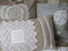 I have made some cushion covers from remnants of woolen fabric, lace and vintage lace doilies. These and other meeni creations are for sale in my Etsy Shop. Shabby Vintage, Vintage Lace, Vintage Sewing, Cute Cushions, Crochet Cushions, Applique Cushions, Handmade Cushion Covers, Handmade Cushions, Pinking Shears