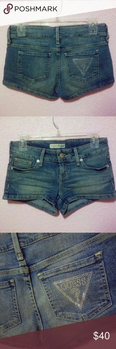 Guess Denim jean shorts Excellent condition Super cute Bright blue faded style Condition: new without tags/ no sign of wear  Trades not accepted Offers are welcome GUESS Shorts Jean Shorts