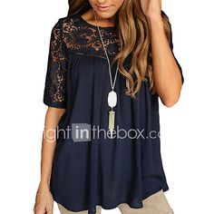 Women's Cut Out Casual/Daily Simple Summer T-shirt,Solid Round Neck Short Sleeve Rayon Thin - CAD $5.82 ! HOT Product! A hot product at an incredible low price is now on sale! Come check it out along with other items like this. Get great discounts, earn Rewards and much more each time you shop with us!