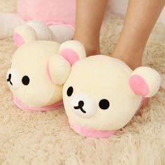 Womens Soft Cute Rilakkuma Bear Big Head Indoor Slippers Non Slip Home Sheos #Rilakkuma #SlipperShoes