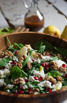 Spinach, Pear and Feta Salad with Walnuts and Pomegranate Arils