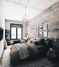 Rustic Master Bedroom Inspiration Ideas This is a bold master bedroom that focuses on modern decor but focuses on keeping a rustic theme of colors. The post Rustic Master Bedroom Inspiration Ideas appeared first on Design Diy. Modern Rustic Bedrooms, Rustic Bedroom Design, Farmhouse Master Bedroom, Master Bedroom Design, Home Decor Bedroom, Modern Decor, Bedroom Designs, Bedroom Furniture, Master Bedrooms