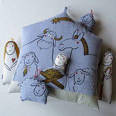 blueprint / BETLÉMEK s OVEČKAMI - polštář Doll Toys, Dolls, My Works, Pillows, Xmas, Baby Dolls, Puppet, Doll, Cushions