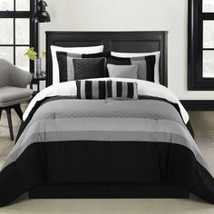 Quilted Patchwork Comforter Set, Solid Color Block Tone on Tone comforter set is so perfectly put together. The solid Black and Grey Tones will give you a perfect Contemporary look with simplicity. Th