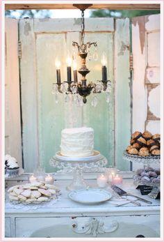 Shabby chic table spread. Wedding reception.