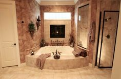 wow - tub for two, fireplace, walk in shower - very nice
