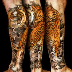 Tattoo artists are typically known for working in either color or black and grey, but California-based Jess Yen kills it in both. #InkedMagazine #tiger #tattoo #tattoos #inked #Ink #art