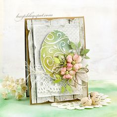 card easter egg with flowers lace leaves leaf Klaudia/Kszp: 3 kartki wielkanocne Easter Art, Easter Crafts, Easter Decor, Holiday Cards, Christmas Cards, Easter Projects, Easter Celebration, Card Tags, Paper Cards