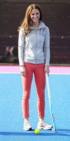 MARCH 15, 2012 The Duchess of Cambridge traded in her blazer and heels for Adidas sneakers and a hoodie to participate in Great Britain's hockey team's training session. After all, she was a field hockey star in high school!